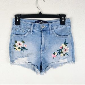 Hollister High Rise Embroidered Distressed Shorts